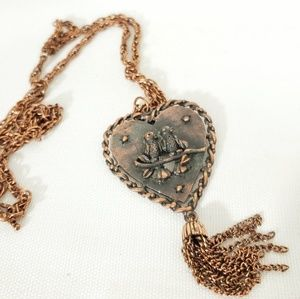 "Vintage 60s "" Stanhome"" Copper love bird Necklace"